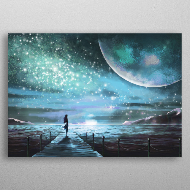 Fantasy illustration with an unknown planet and Milky Way, stars. girl in dress is standing on pier on the sea and looking at the space metal poster