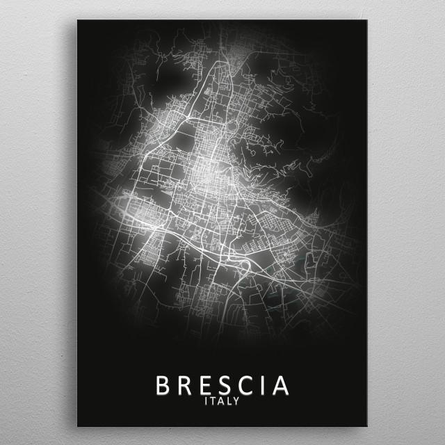 Brescia Italy City Map metal poster