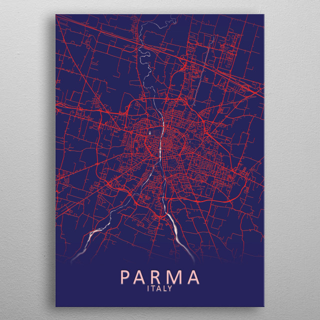 Parma Italy City Map metal poster