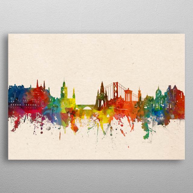 Edinburgh skyline inspired by decorative,watercolor,colorful,artistic,pop art design metal poster