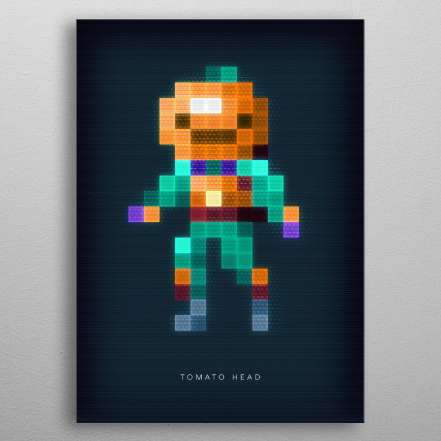 Pixel art of the Fortnite character Tomato head metal poster