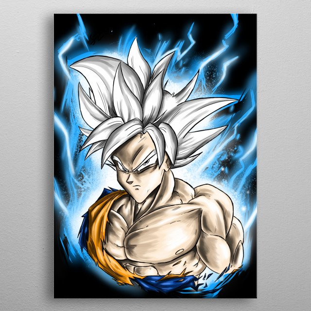 A digital  drawing/illustration of Mastered Ultra Instinct Goku.  metal poster