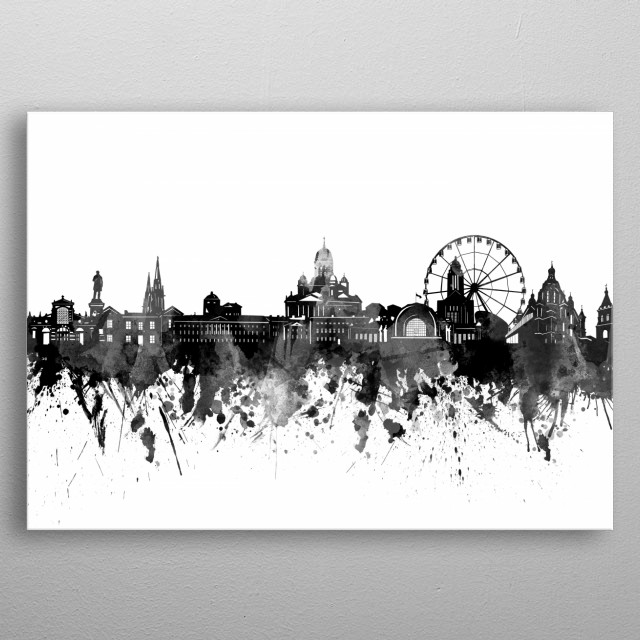 Helsinki skyline inspired by decorative,artistic,watercolor,black and white design metal poster