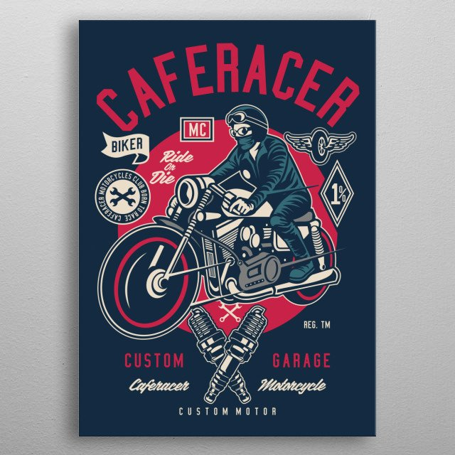 Caferacer Club metal poster