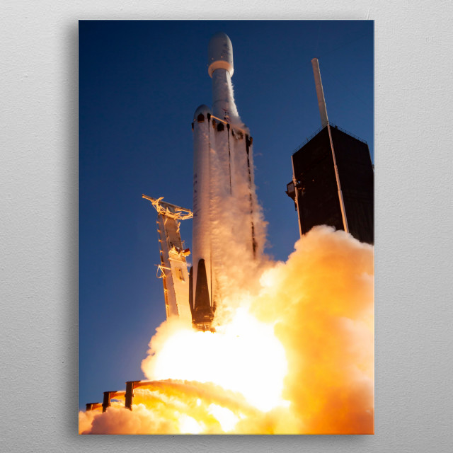 This design is based on a photo released by SpaceX under CC0 1.0 Universal license. This is a tribute to SpaceX and Elon Musk and their succ metal poster