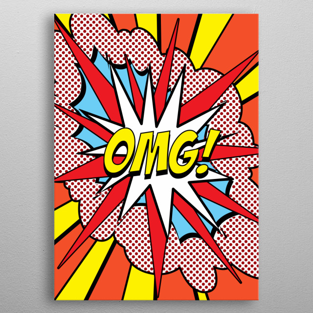 OMG POP Art poster written in comic retro style.  metal poster