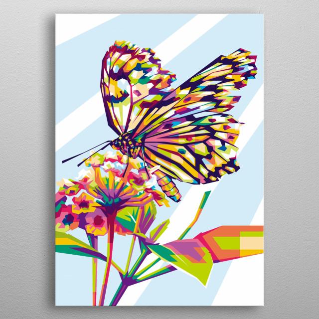 Beutyfull butterfly in WPAP metal poster