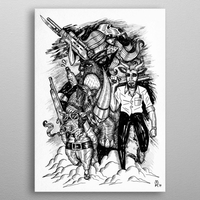 This league of unconventional heroes consists of Ben 'Kuduman' Botes, Terry Hops the rabbit, Rhino Guy, The Warhog and Baboon Babe!   metal poster