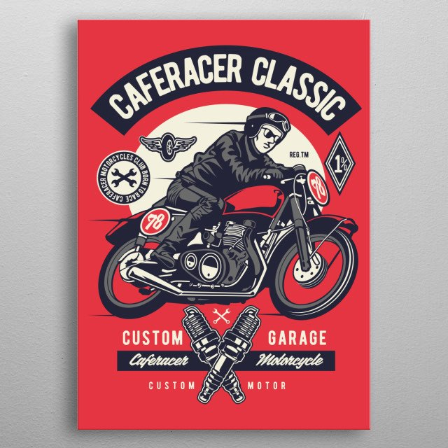 Caferacer metal poster