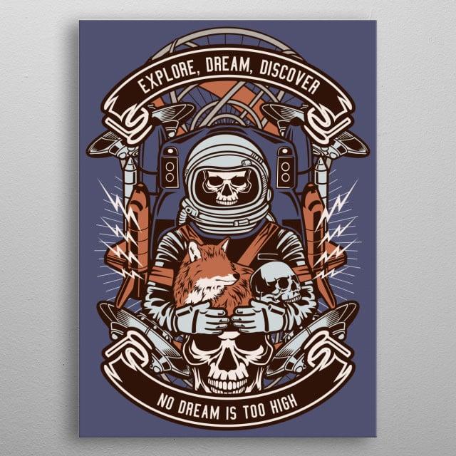 Astronaut Skull metal poster