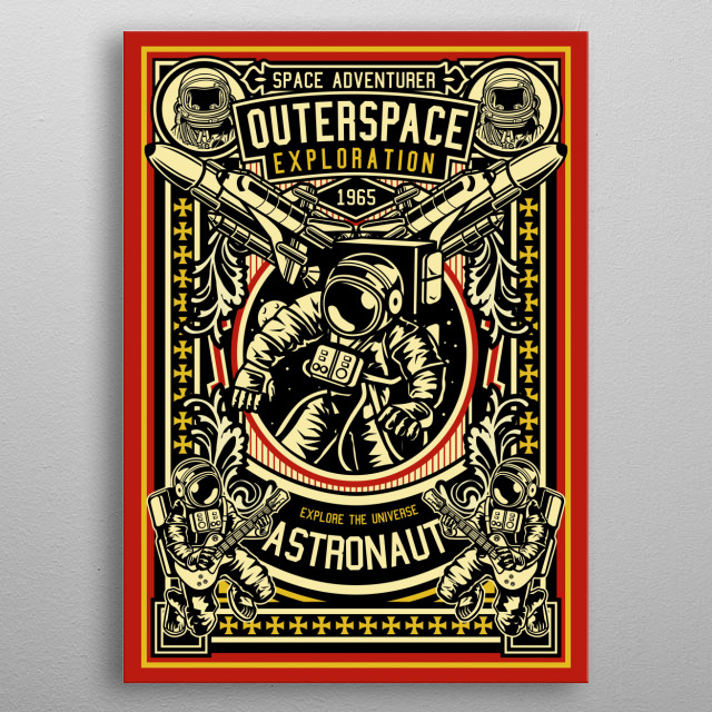 Astronaut Outerspace Exploration metal poster