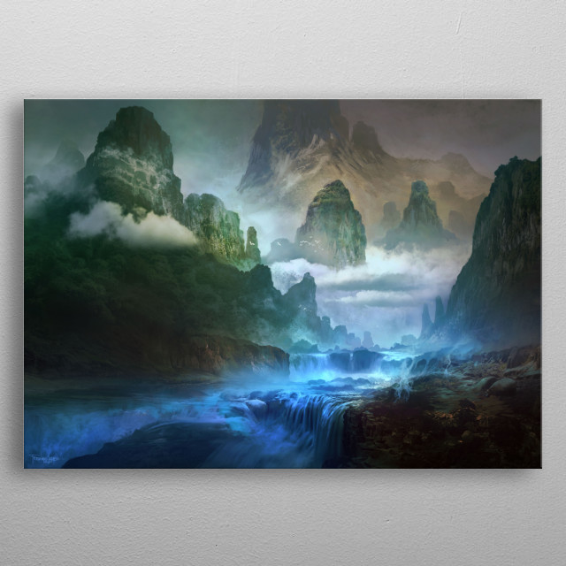 Landscape painting metal poster