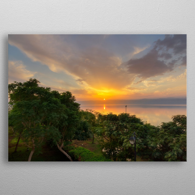 Sunset over the Dead Sea, view from the jordan Site. metal poster