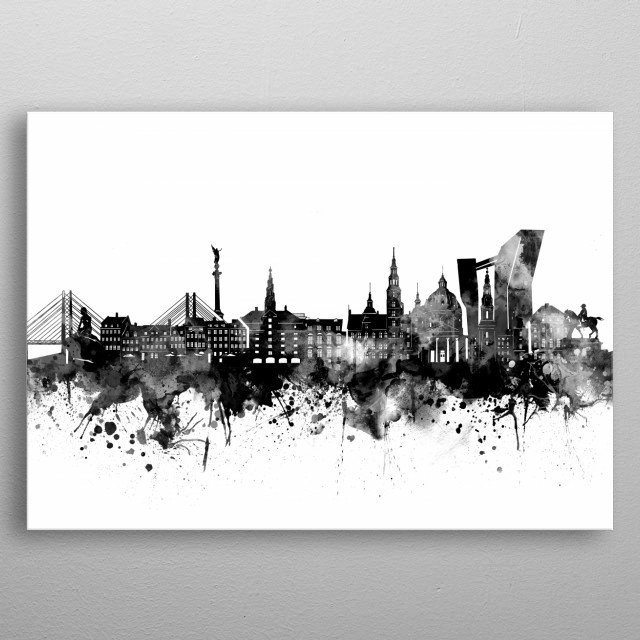 Copenhagen skyline inspired by decorative,artistic,watercolor,black and white design metal poster