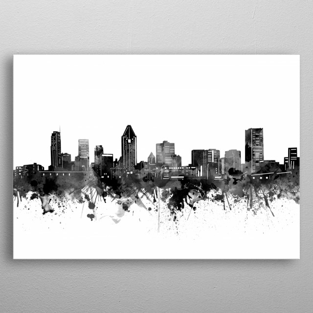 Montreal skyline inspired by decorative,artistic,watercolor,black and white design metal poster