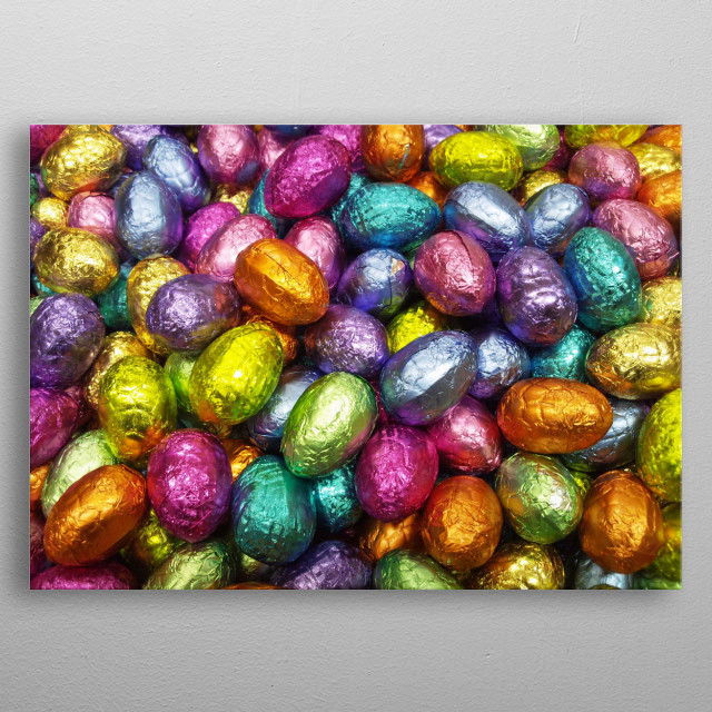 Lots of brightly coloured chocolate Easter Eggs in foil. metal poster