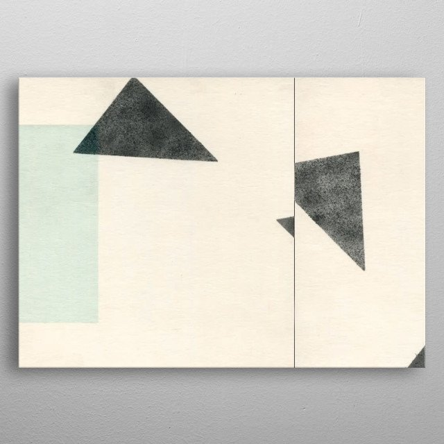 Abstract painting with geometric figures. metal poster