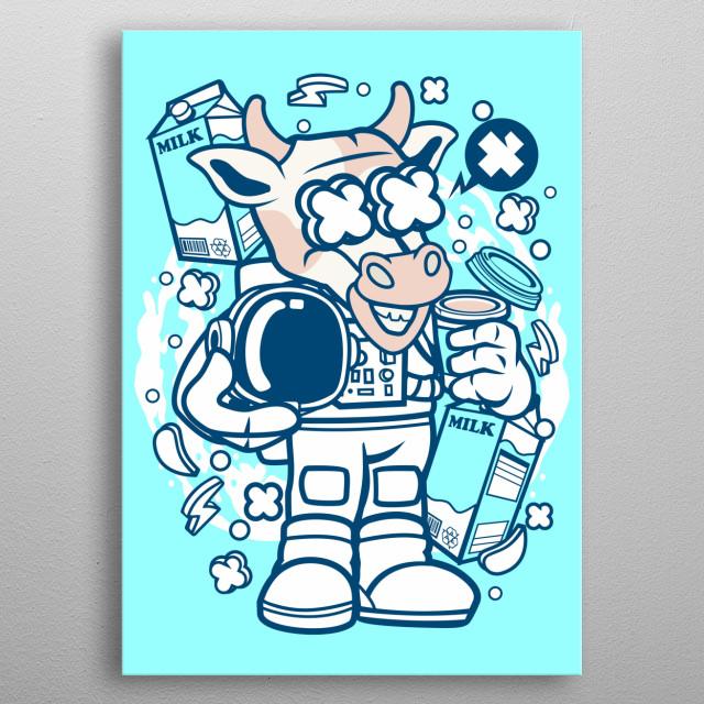 Cow Astronaut metal poster