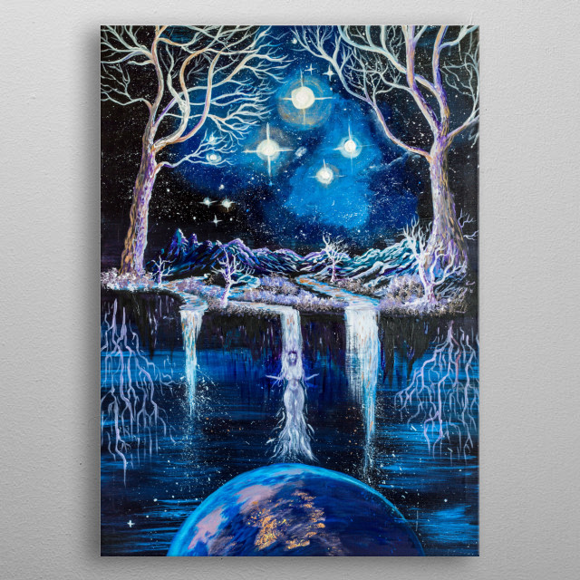 Acrylic on canvas that illustrates surrealistic and magical view of Pleiades constellation, heaven and earth and mother goddess. Wonderfull. metal poster