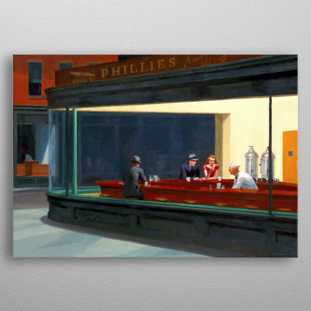 A beautifully restored version of the classic masterpiece. Painted in 1942 by Edward Hopper, it now hangs in the Art Institute of Chicago. metal poster