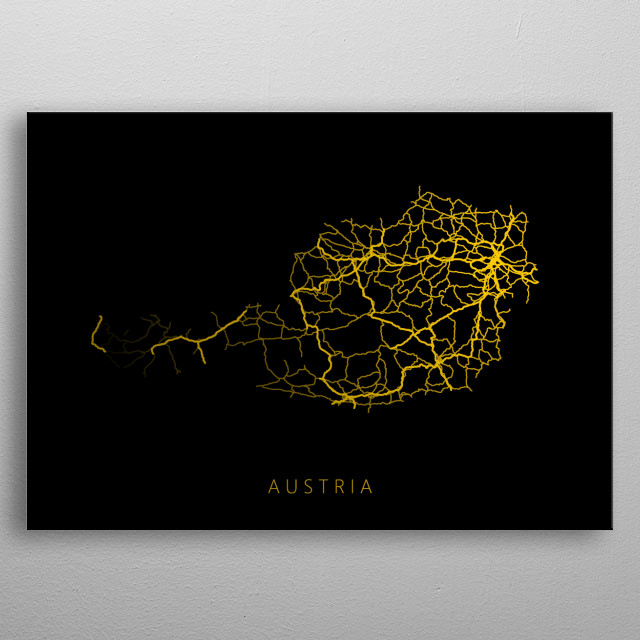 Map of Austria created by roads and highways. metal poster