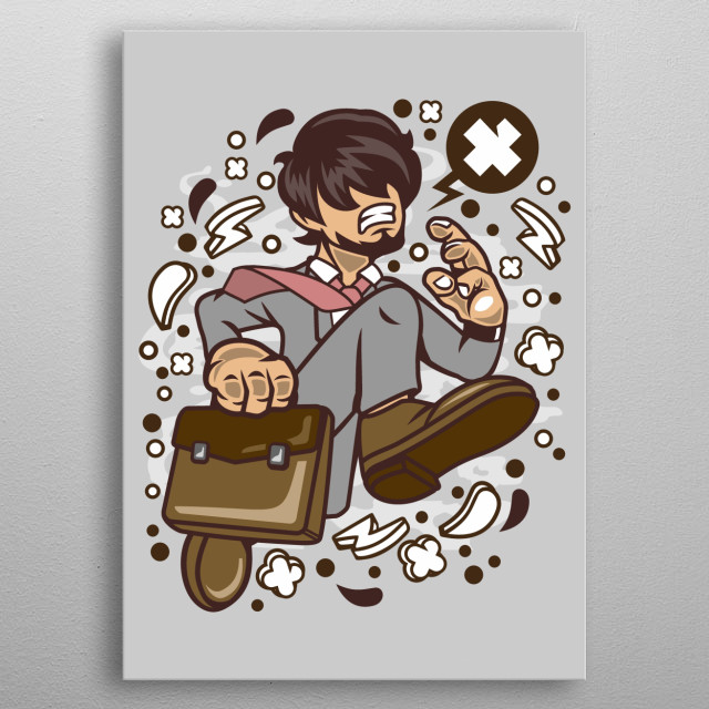 Businessman Running metal poster