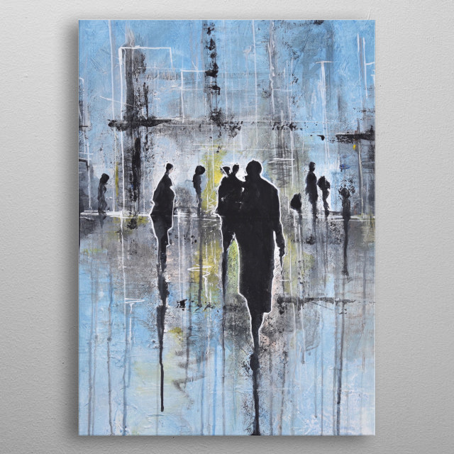 Painting: Acrylics on canvas, minimalism style abstract painting, with human silhouette.  metal poster