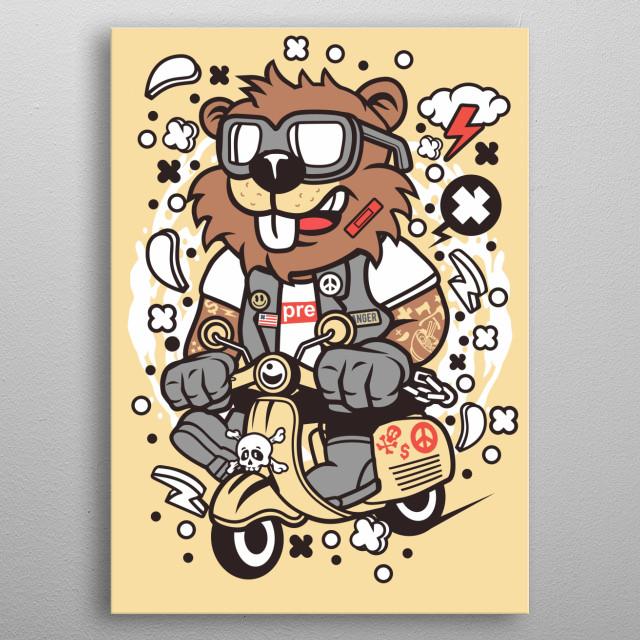 Beaver Scooterist metal poster