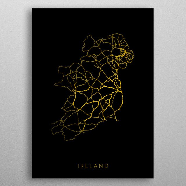 Map of Ireland created by roads and highways. metal poster