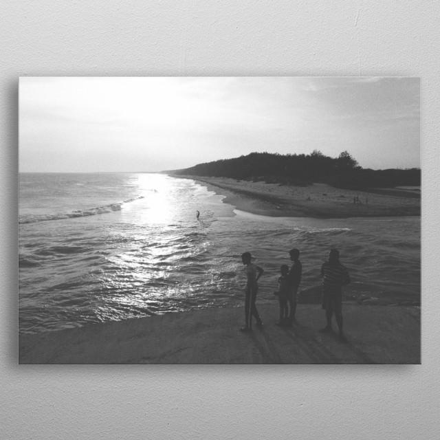 River and Sea near Ambalantota. Sri Lanka metal poster