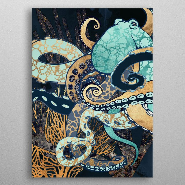 Abstract depiction of an octopus and coral with blue, gold and aqua metal poster