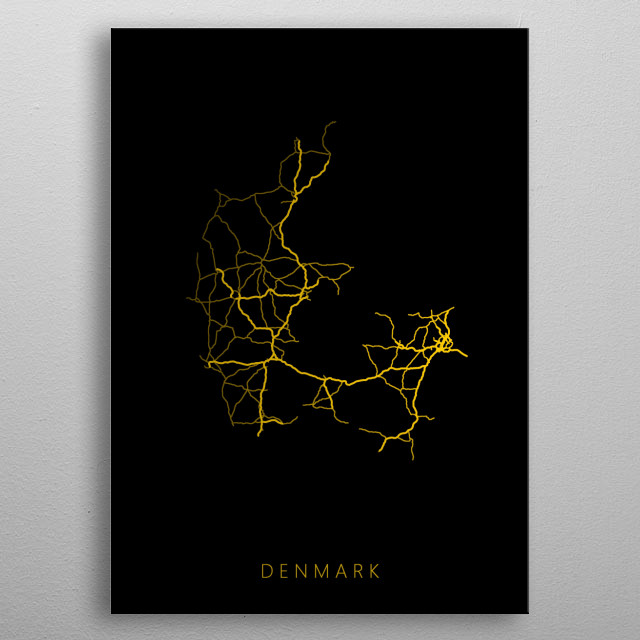 Map of Denmark created by roads and highways. metal poster