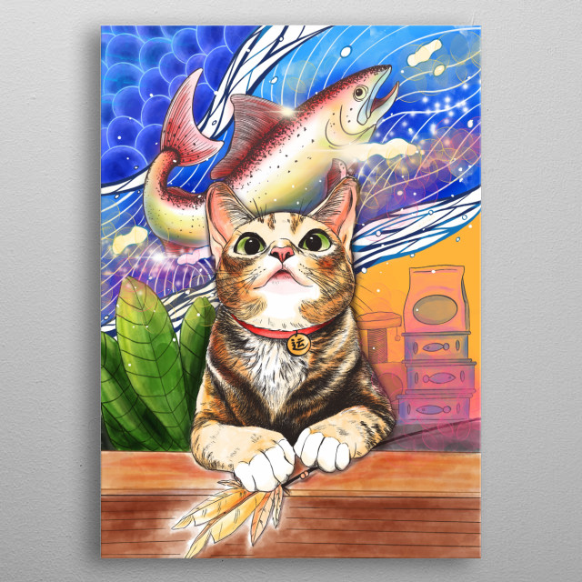 The day dream of the cat  metal poster