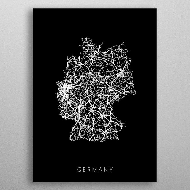 Map of Germany created by roads and highways. metal poster