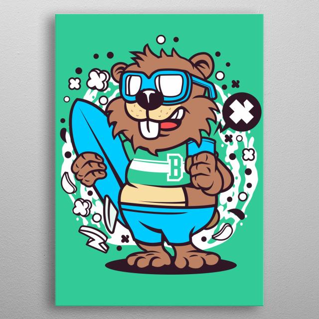 Beaver Surfing metal poster