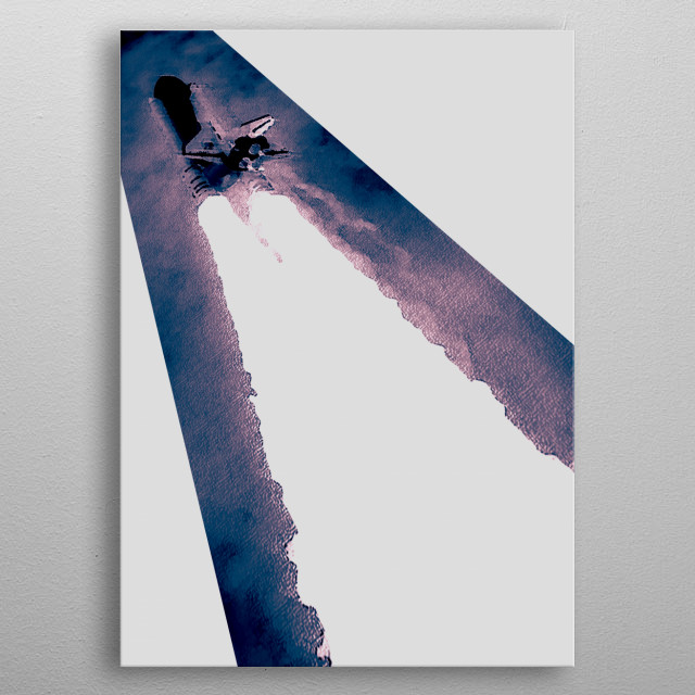 Space shuttle launching into the sky and conveyed in an illustrative graphic art style.  metal poster