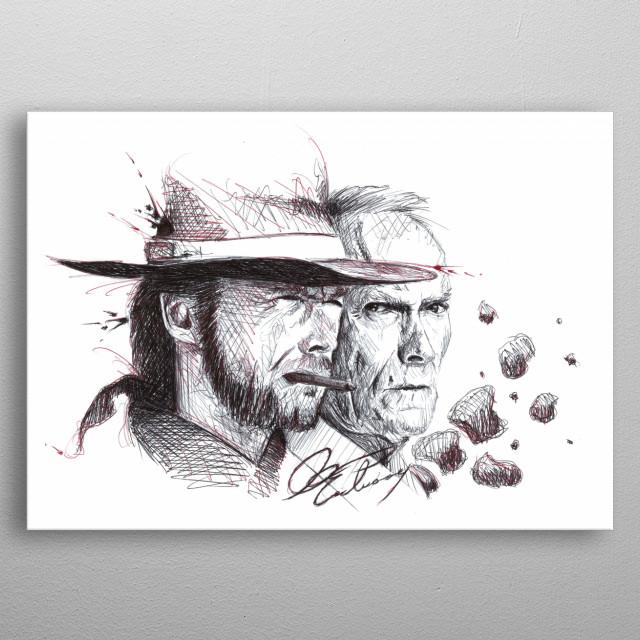 Clint Eastwood. Young vs Old, 1966 vs 2018. Pen art metal poster