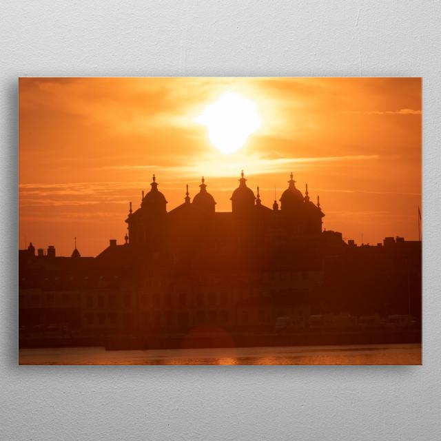 Sunset over Kalmar  metal poster