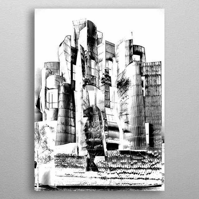 Digital architectural rending in reverse black and white metal poster