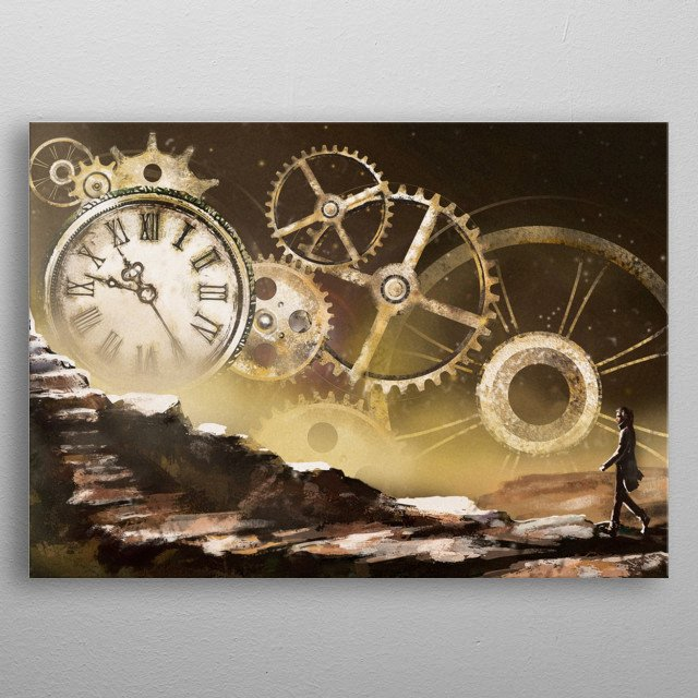 Fantastic illustration with clock and mechanism, stars. Man going on mountain. Fantasy surrealism, painting landscape. gold steam punk  metal poster