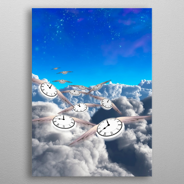 Flying time. Winged clocks metal poster