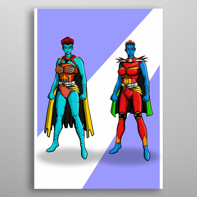 the twin sis superheros from alien world.  metal poster