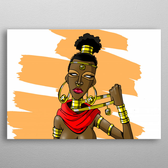 Illustration inspired by a beautiful, yet fierce African lady warrior with loads of class and style metal poster