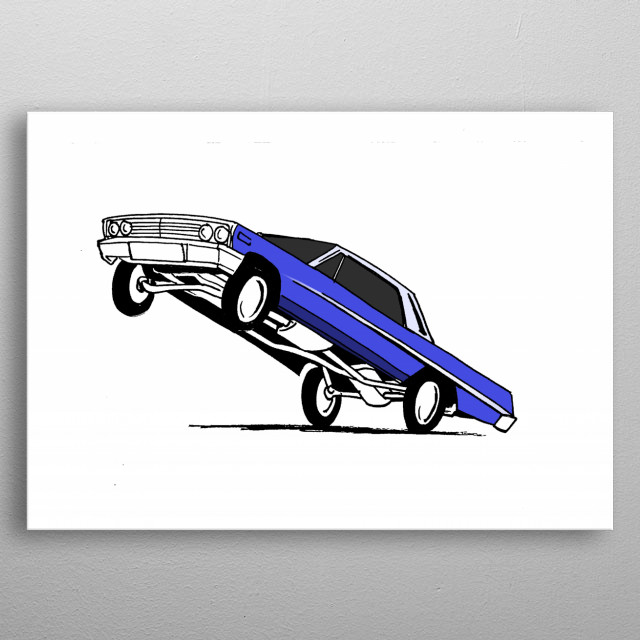 Illustration inspired by the West Coast Chevy Impala lowriders metal poster