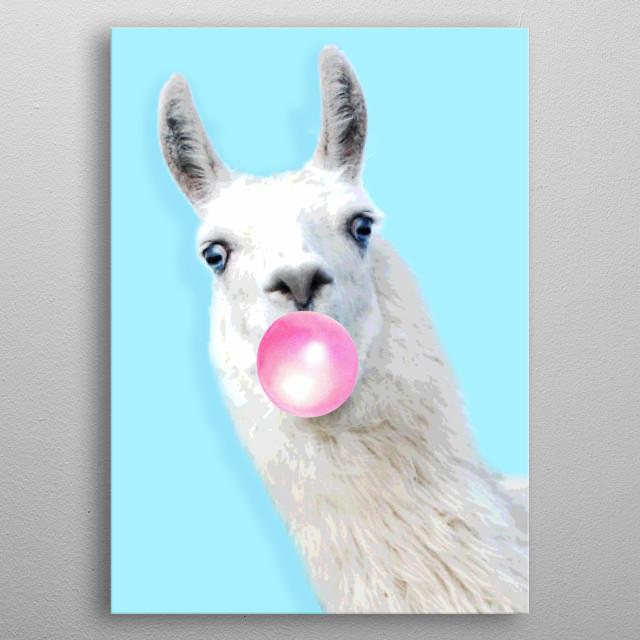 Are you searching for the perfect bubble gum llama displate? This is a cool displate for living rooms kid's rooms and a colorful decoration metal poster