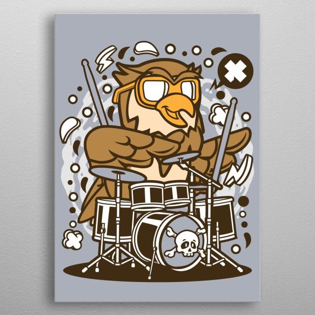 Owl Drummer metal poster