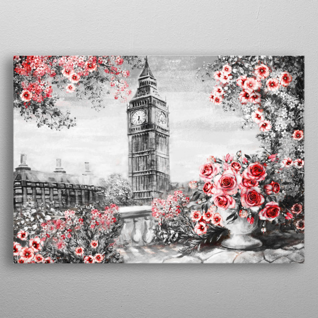 Oil Painting, summer in London. gentle city landscape. flower rose and leaf. View from above balcony. Big Ben, England, wallpaper metal poster