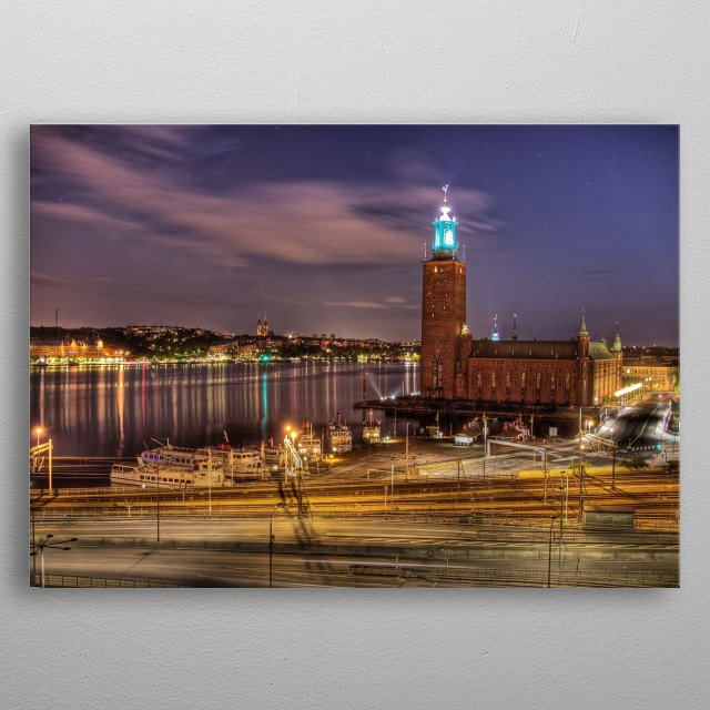 Night time over Stockholm metal poster