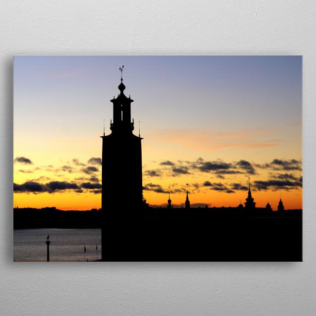Sunset over Stockholm metal poster