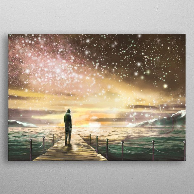 Fantastic illustration with Milky Way, stars. Man is standing on pier on the sea and looking a space landscape. Painting metal poster